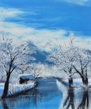 在冬天油画的运河在帆布 免版税图库摄影