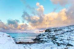 在冬天海湾的云彩 图库摄影