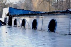 在冬天湖的Drawned船 免版税库存照片