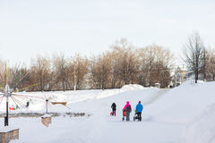 在冬天照顾走与一辆婴儿推车 库存图片