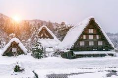 在冬天白川町去村庄,联合国科教文组织世界遗产,日本 免版税库存照片