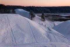 在冬天的土墩Kernave 免版税库存照片