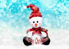 在冬天的圣诞老人帽子的雪人 免版税库存照片