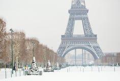 在冬天的埃佛尔铁塔 免版税库存照片