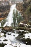 在冬天的Gollinger瀑布,奥地利 免版税库存图片