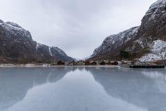 在冬天结冰的Hardanger海湾挪威 库存照片