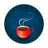 在冬天背景的商标或象或者标签红色杯子 免版税库存图片