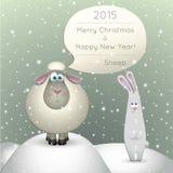 在冬天背景的羊羔 免版税库存照片