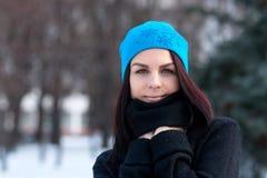 在冬天背景的美丽的女孩画象 走在冬天森林有吸引力妇女摆在的迷人的小姐 库存图片