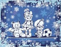 在冬天背景的逗人喜爱的婴孩例证 图库摄影