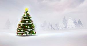 在冬天自然季节性风景的圣诞树 免版税库存照片