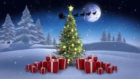 在冬天设置的圣诞节场面 向量例证