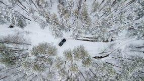 在冬天路之前乘坐在积雪的森林里的SUV 6x6的鸟瞰图 免版税库存照片