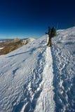 在冬天途中的游人 免版税图库摄影
