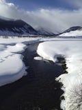 在冬天雪下的科罗拉多小河 库存照片
