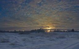 在冬天领域的黎明 库存图片