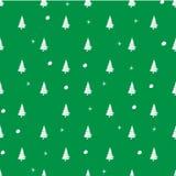 在冬天题材的例证样式有绿色背景和树白色剪影与雪球和雪花的 向量例证