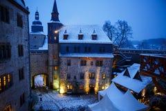 在冬天风景的德国童话城堡 城堡罗姆罗德在黑森,德国 图库摄影