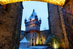 在冬天风景的德国童话城堡 城堡罗姆罗德在黑森,德国 库存图片