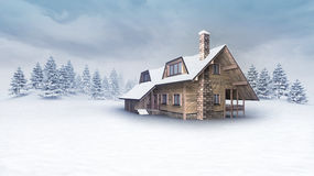在冬天风景的木客舱与树 图库摄影