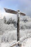 在冬天风景的空白的路标 库存照片