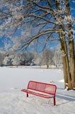 在冬天风景的红色长凳 库存图片