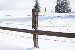 在冬天风景的老木篱芭 图库摄影