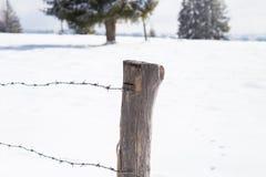在冬天风景的老木篱芭 免版税图库摄影