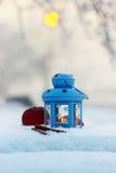 在冬天风景的蓝色灯笼 库存图片