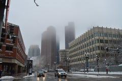 在冬天风暴以后的斯诺伊街道在波士顿, 2016年12月11日的美国 库存照片