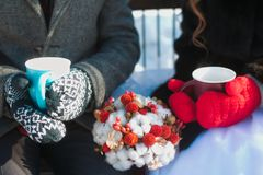 在冬天饮用的茶的夫妇 免版税库存图片