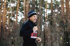 在冬天马拉松期间,在冬天运动服的老公赛跑者跑杉木森林森林 免版税库存照片