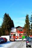 在冬天驻地Poiana布拉索夫,特兰西瓦尼亚的典型的风景 免版税库存图片