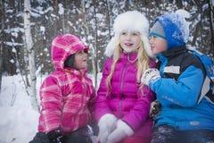 在冬天,三个孩子谈话在一个多雪的森林里 免版税库存图片