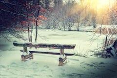 在冬天结冰的湖的壮观的日落 库存照片