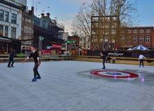 在冬天滑冰pist 免版税图库摄影