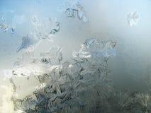 在冬天玻璃窗的冷淡的模式 免版税库存图片