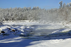 在冬天1期间的Bigfork河 免版税图库摄影