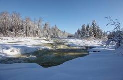 在冬天4期间的Bigfork河 库存照片