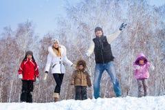 在冬天parkl的家庭 免版税图库摄影