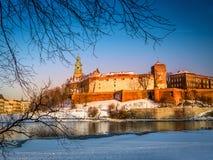 在冬时的Wawel城堡 库存图片