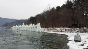 在冰冷的河附近的冰山娜米海岛的韩国 库存照片