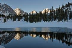 在冰冷的水池反映的山 免版税库存照片