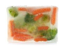 在冰块结冰的新鲜蔬菜 库存照片