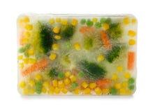 在冰块结冰的新鲜蔬菜 免版税库存照片