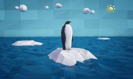 在冰山的抽象企鹅 皇族释放例证
