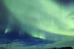 在冰岛的天空的北极光 图库摄影