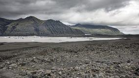 在冰岛的月亮的风景 免版税库存照片