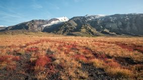 在冰岛的高地的美好的秋天风景 免版税库存图片
