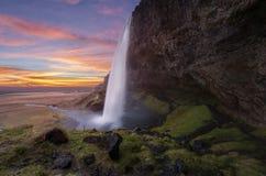 在冰岛的Seljalandsfoss瀑布 库存图片